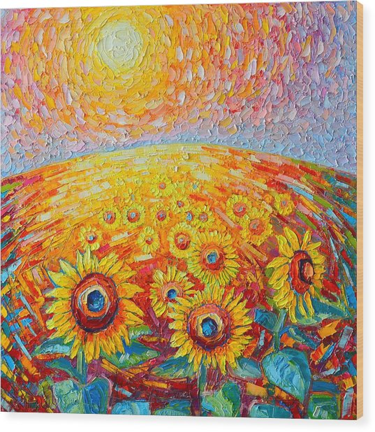 Fields Of Gold - Abstract Landscape With Sunflowers In Sunrise Wood Print