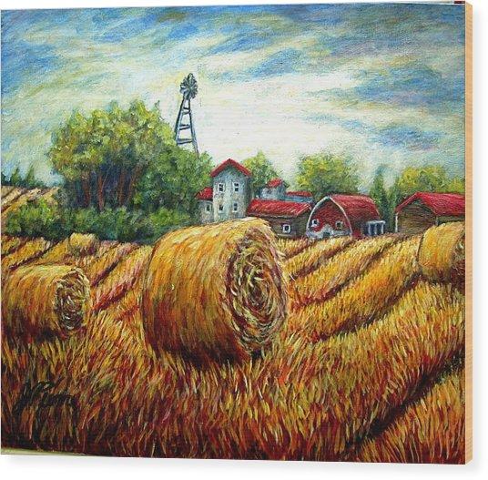 Fields Of Hay Wood Print by Sebastian Pierre