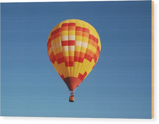 Fiery Balloon Wood Print by Miguelito B