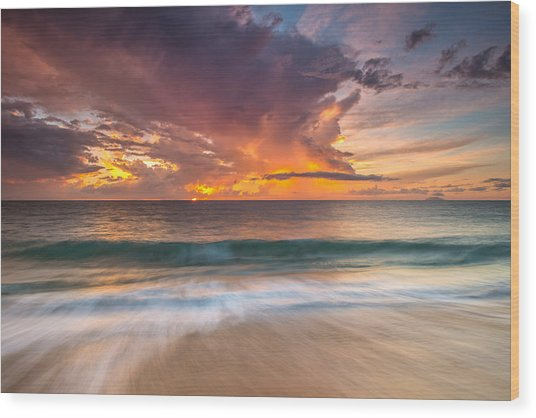 Fiery Skies Azure Waters Rendezvous Wood Print
