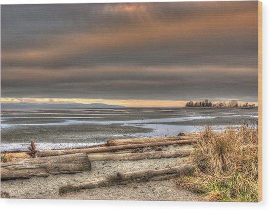 Fiery Sky Over The Salish Sea Wood Print