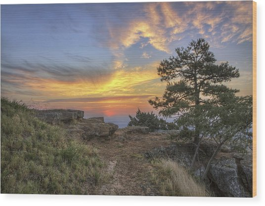 Fiery Sunrise From Atop Mt. Nebo - Arkansas Wood Print
