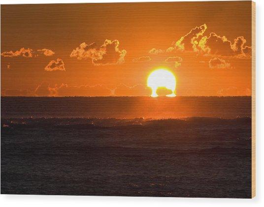Fiery Sunrise Wood Print