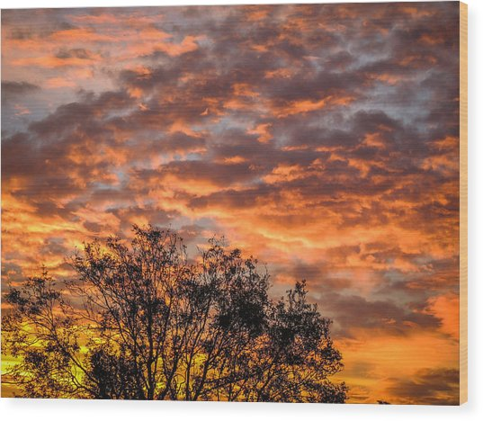 Fiery Sunrise Over County Clare Wood Print
