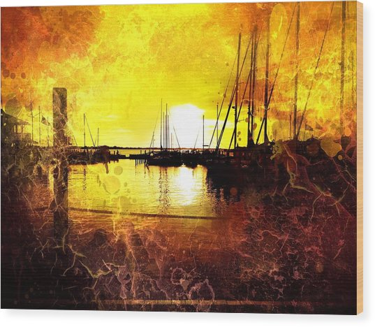 Fiery Sunset Wood Print by Beth Williams