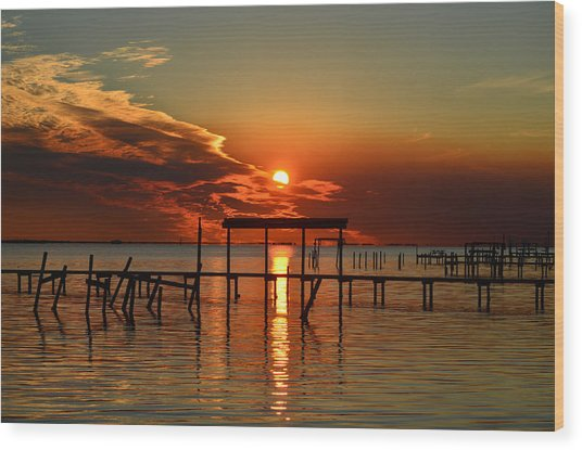 Fiery Sunset Colors Over Santa Rosa Sound Wood Print