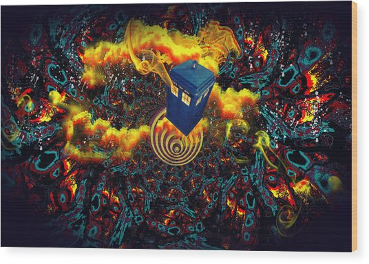 Fiery Time Vortex Wood Print