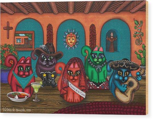 Fiesta Cats II Wood Print