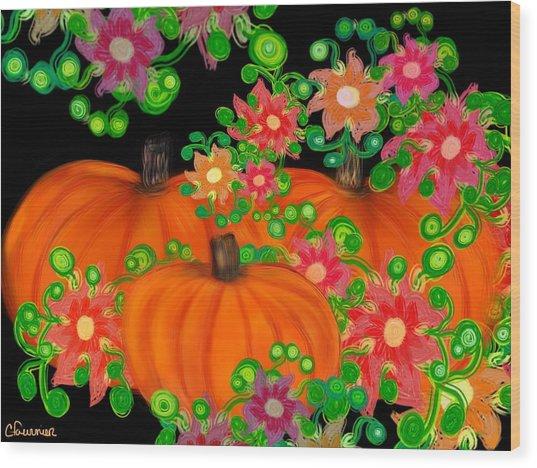 Fiesta Pumpkins Wood Print