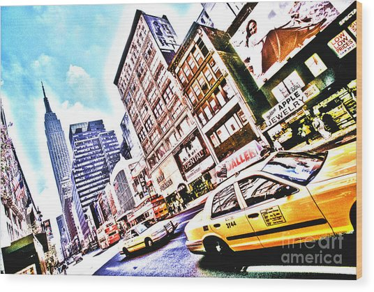 Fifth Avenue And Empire State Hdr Wood Print by Kim Lessel