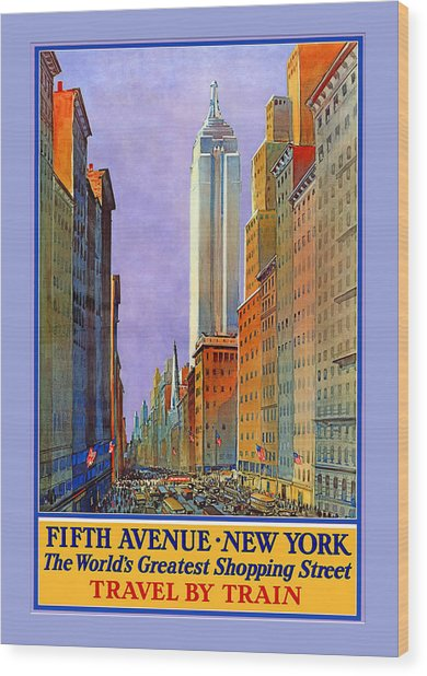 Fifth Avenue  New York Travel Poster Wood Print by Denise Beverly