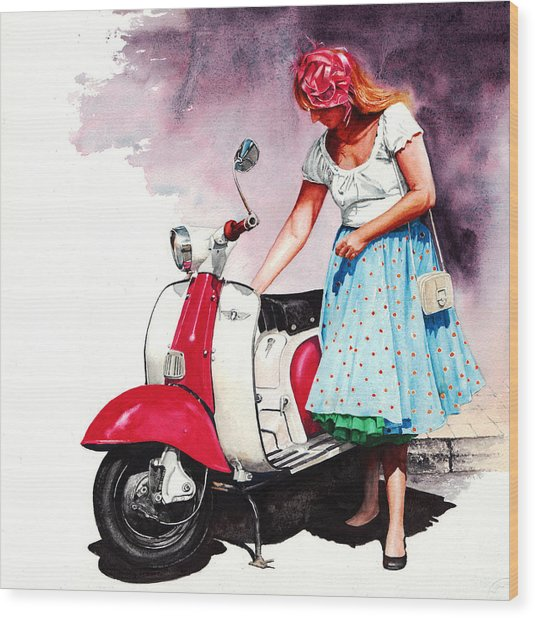 Fifties Lambretta Girl Wood Print