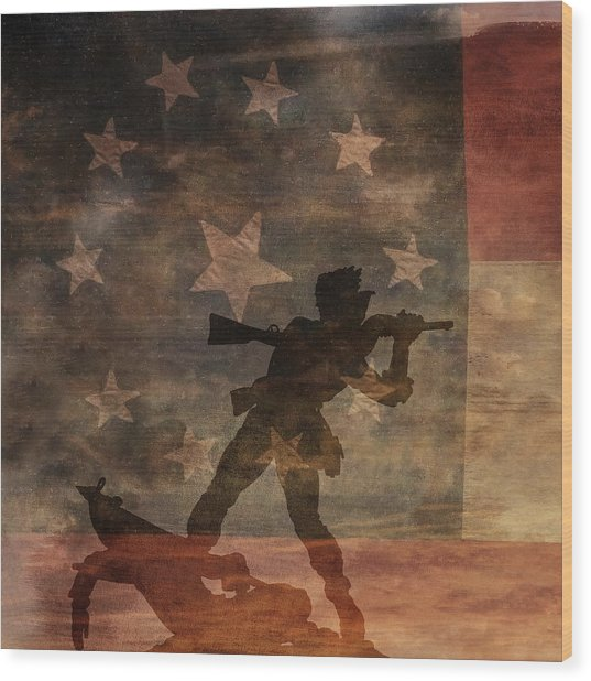 Fight To The Death Silhouette Three Of Three Wood Print by Randy Steele