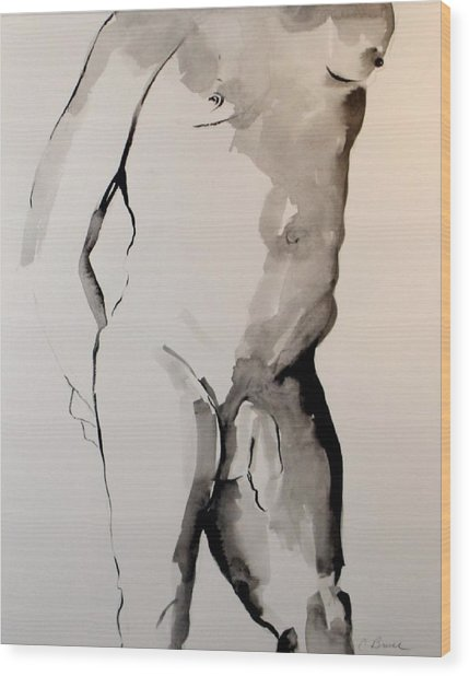 Figure 7 Male Nude Wood Print by Craig  Bruce