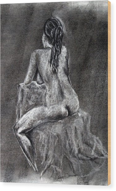 Figure Drawing 2 Wood Print by Corina Bishop