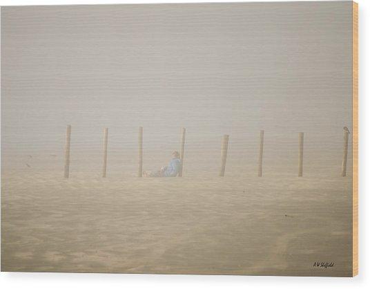 Figure In The Fog Wood Print