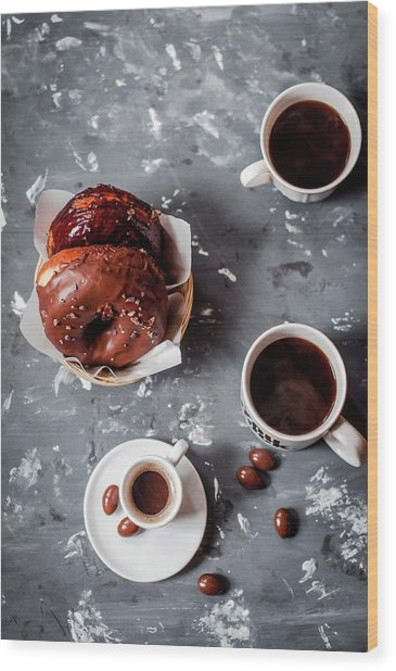 Fika Time - Chocolate And Coffee Wood Print by Copyrighted To Asha Pagdiwalla