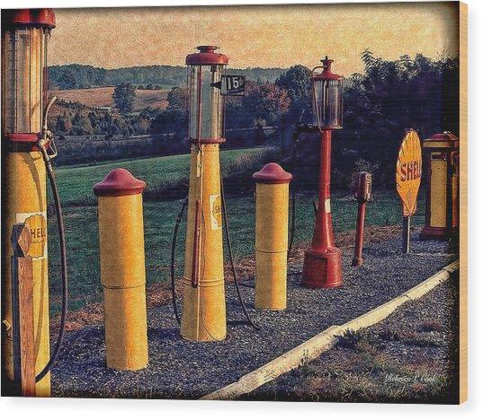 Fill 'er Up Vintage Fuel Gas Pumps Wood Print
