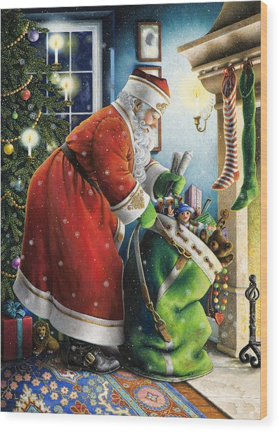 Filling The Stockings Wood Print