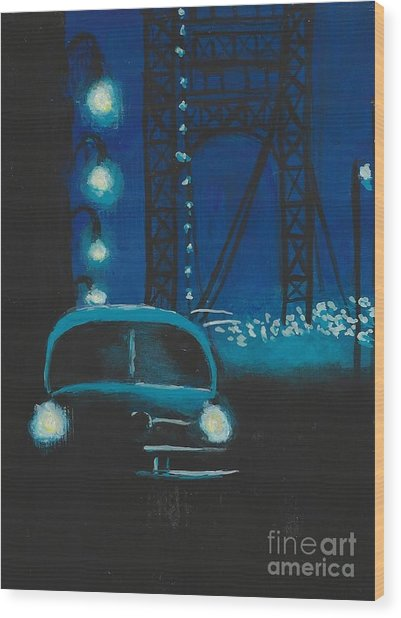Film Noir In Blue #1 Wood Print