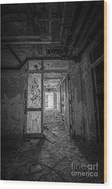 Filthy Floor Bw Wood Print
