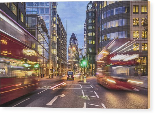 Financial District In London At Dusk Wood Print by Xavierarnau