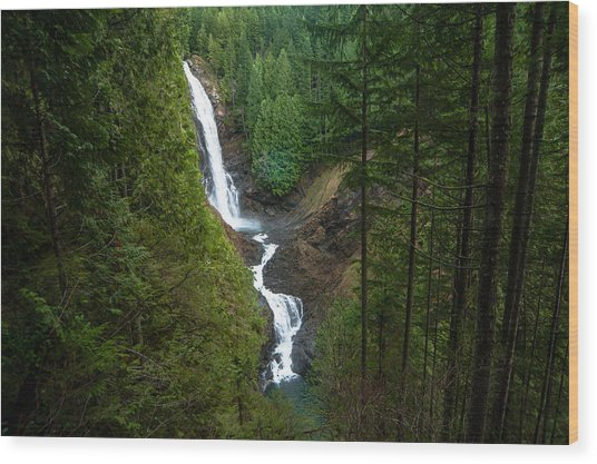 Finding The Falls Wood Print