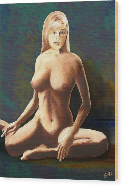 Fine Art Female Nude Jess Seated Mods2b Wood Print