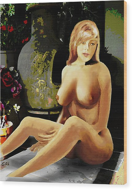 Fine Art Female Nude Jess Sitting On The Patio Wood Print