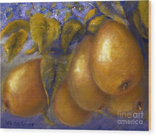 Fine Art Golden Pears With Blue And Green Wood Print