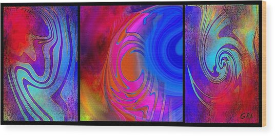 Fine Art Painting Original Digital Abstract Warp 3 Wood Print