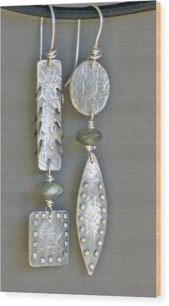 Fine Silver Mismatched Earrings Wood Print by Mirinda Kossoff