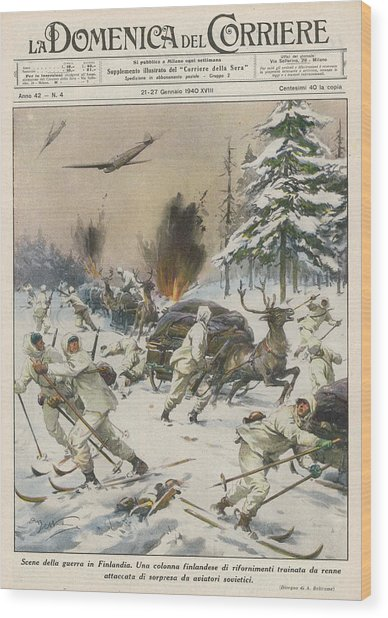 Finland  Soviet Aircraft Attack Wood Print by Mary Evans Picture Library