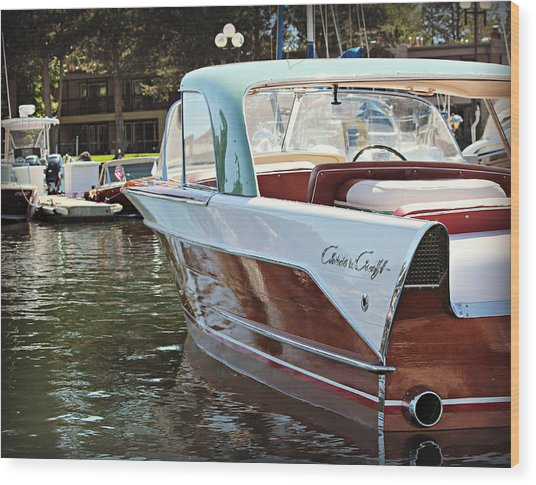 Finned Chris Craft Wood Print