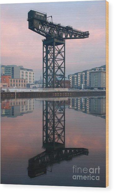 Finnieston Crane Reflections Wood Print