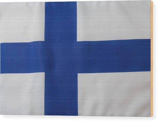 Finnish Flag Wood Print by Junior Gonzalez