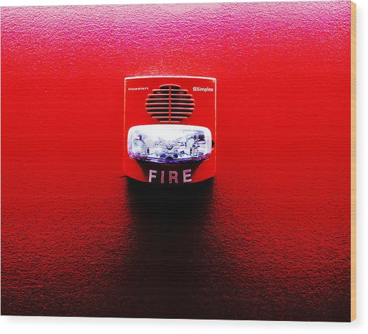 Fire Alarm Strobe Wood Print