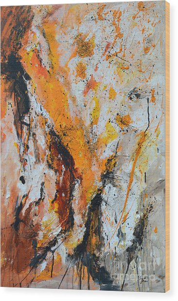 Fire And Passion - Abstract Wood Print by Ismeta Gruenwald