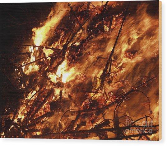 Fire Blaze Wood Print