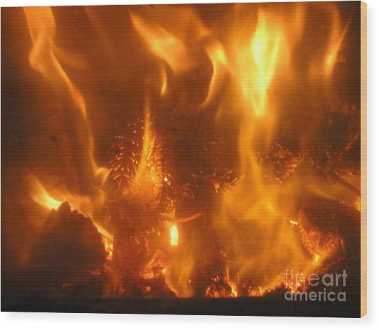Fire - Burning Love Wood Print