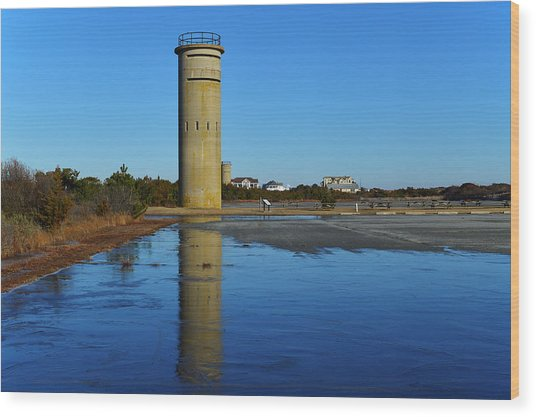 Fire Control Tower 3 Icy Reflection Wood Print