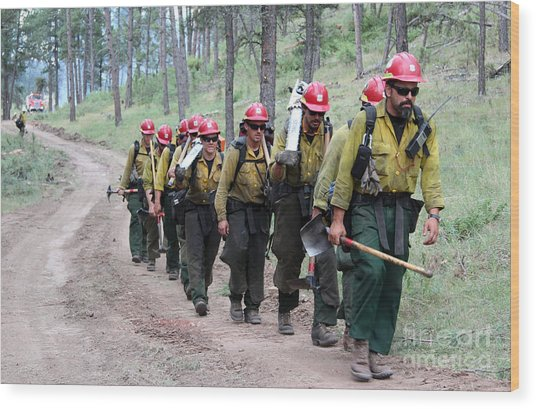 Fire Crew Walks To Their Assignment On Myrtle Fire Wood Print