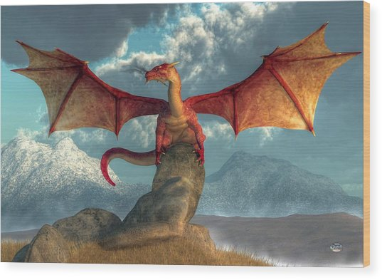 Fire Dragon Wood Print