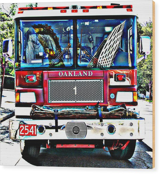 Fire Engine Study 1 Wood Print
