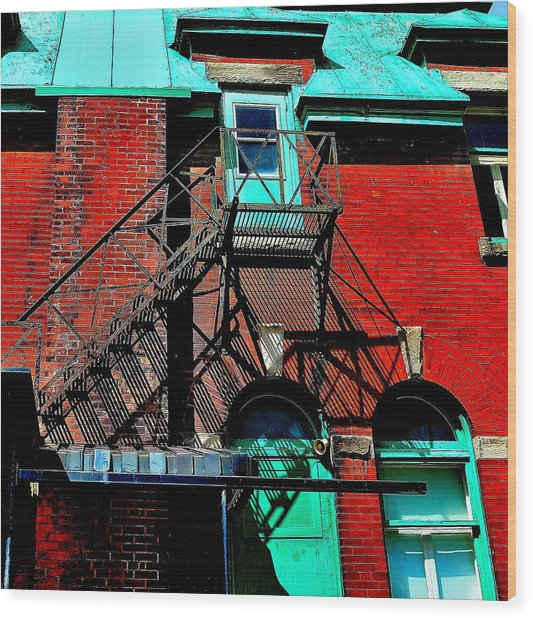 Fire Escape Imprints - Perspective 1 - Ontario - Canada Wood Print