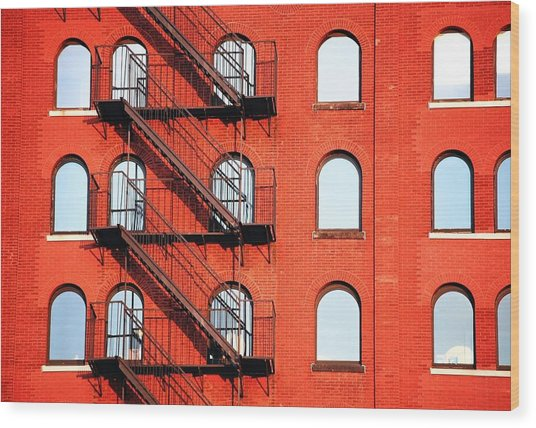 Fire Escape Of Red Building Wood Print by Travis Chambers / Eyeem