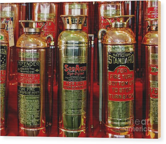 Fire Extinguishers Wood Print