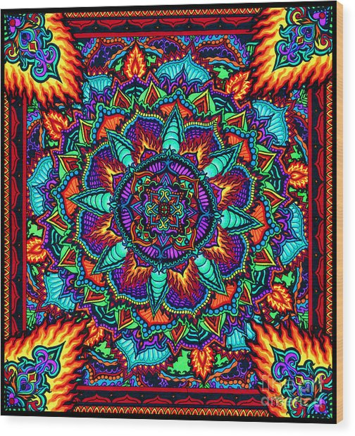 Fire Flower Wood Print