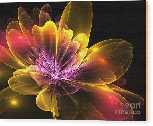 Fire Flower Wood Print