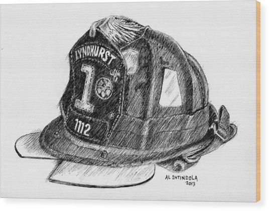 Fire Helmet Wood Print
